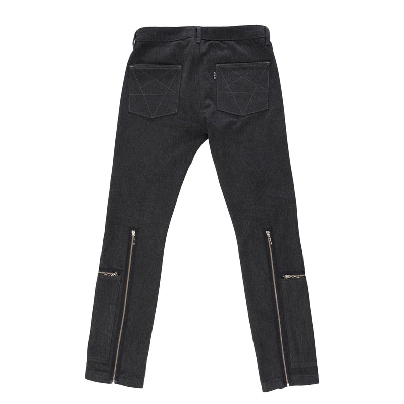 BLACK DENIM CARGO SLIM FIT JEANS