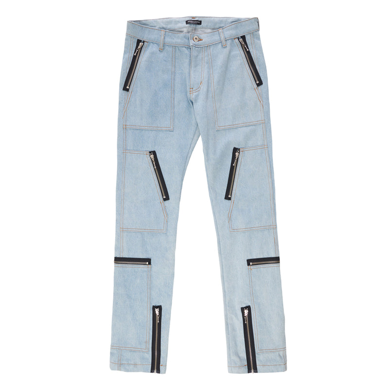 BLUE DENIM CARGO SLIM FIT JEANS