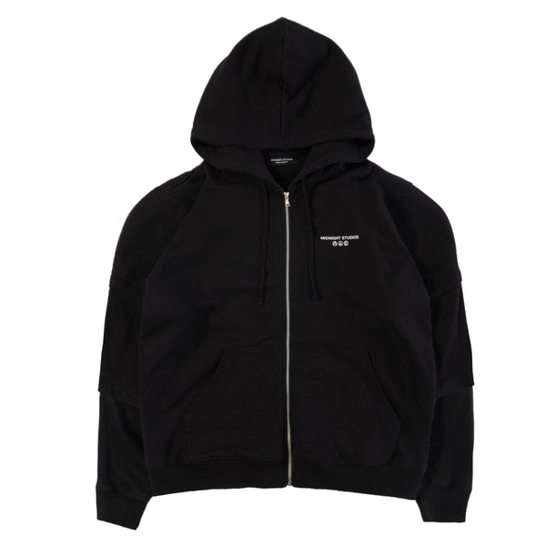 LAYERED LOGO ZIP UP HOODIE
