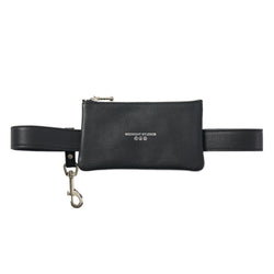 BLACK LEATHER EYEWEAR POUCH BELT