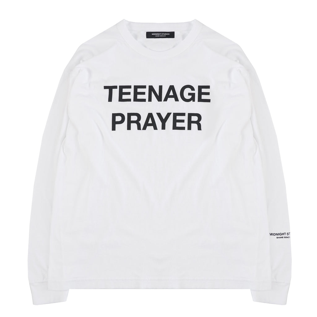 WHITE TEENAGE PRAYER LONG SLEEVE T-SHIRT