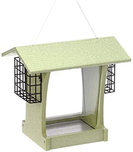 Recycled Hopper Feeder with Suet Cages - Green