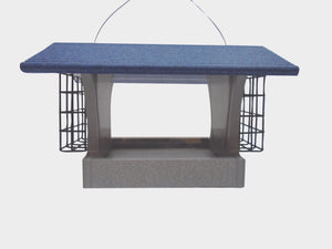 Recycled Hopper Feeder with Suet Cages - Blue
