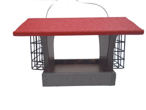 Recycled Hopper Feeder with Suet Cages - Red