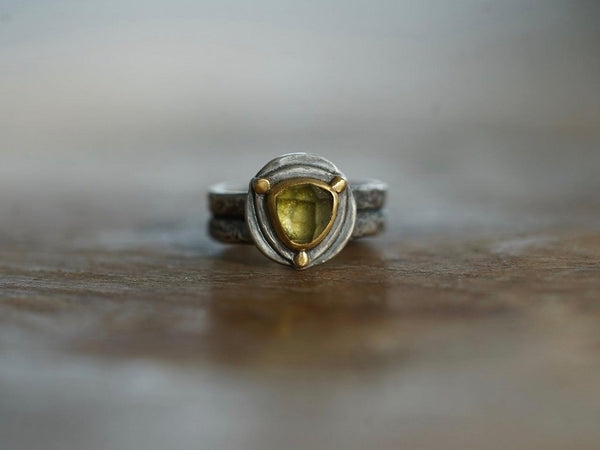 Triangular green tourmaline and 22k gold ring, size 6.25