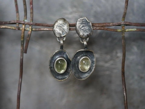 Melted series, green aquamarine earrings