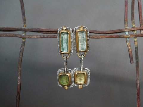 RESERVED for Ness, payment 2/2 Green tourmaline and 22k gold dangly drop earrings