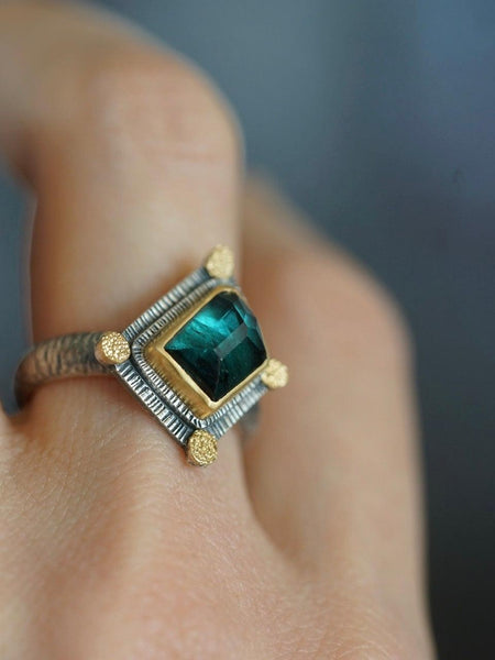 Irregularly shaped, teal blue, faceted tourmaline and 22k gold statement ring, size 7.75