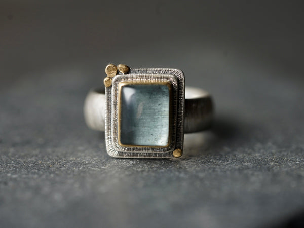 Rectangular aquamarine and 22k gold statement ring, size 7.5