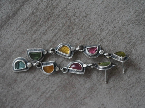 Long colourful tourmaline earrings
