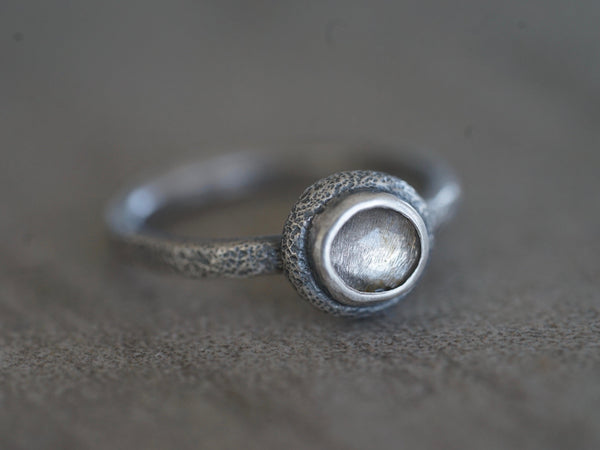 Pale lavender spinel and textured sterling silver ring, size 6