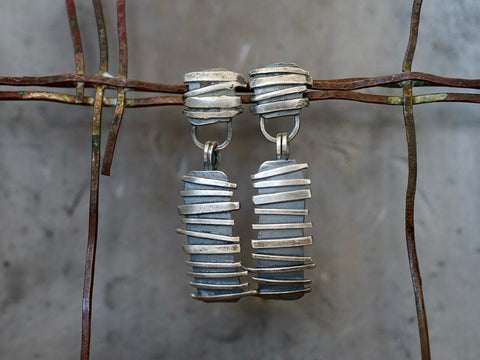 Remnants/ withered series, horizontal  stripes sterling silver earrings