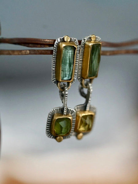 RESERVED for Ness, payment 1/2 Green tourmaline and 22k gold dangly drop earrings