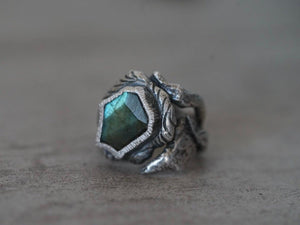 Lanbradorite statement ring, size 7.25