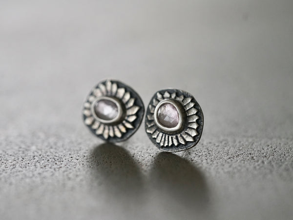 Lavender spinel and sterling silver floral earrings