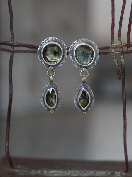 Green tourmaline earrings with 22k gold accents