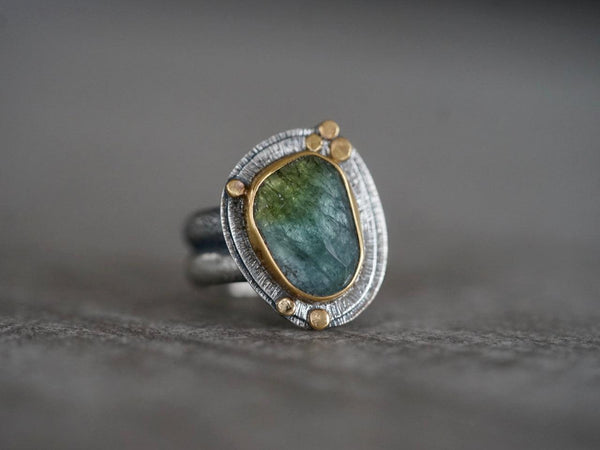 RESERVED Blue green Tourmaline and 22k gold ring, size 7
