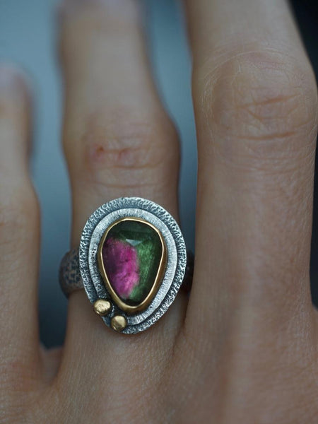 RESERVED bicoloured Tourmaline and 22k gold ring, size 6