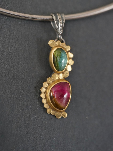 Elegant watermelon tourmaline and 22k gold accent pendant