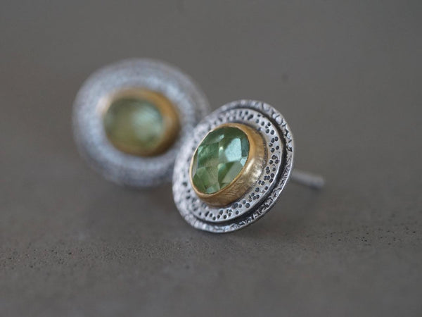 Green tourmaline and 22k gold post earrings