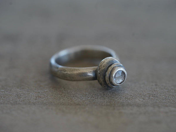 Sterling silver and pale lavender spinel ring, size 6