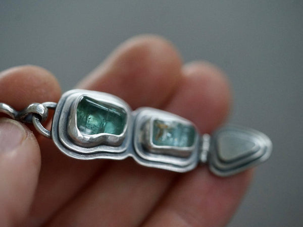 Aquamarine and tourmaline hinged pendant