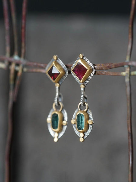 Tourmaline and 22k gold drop earrings