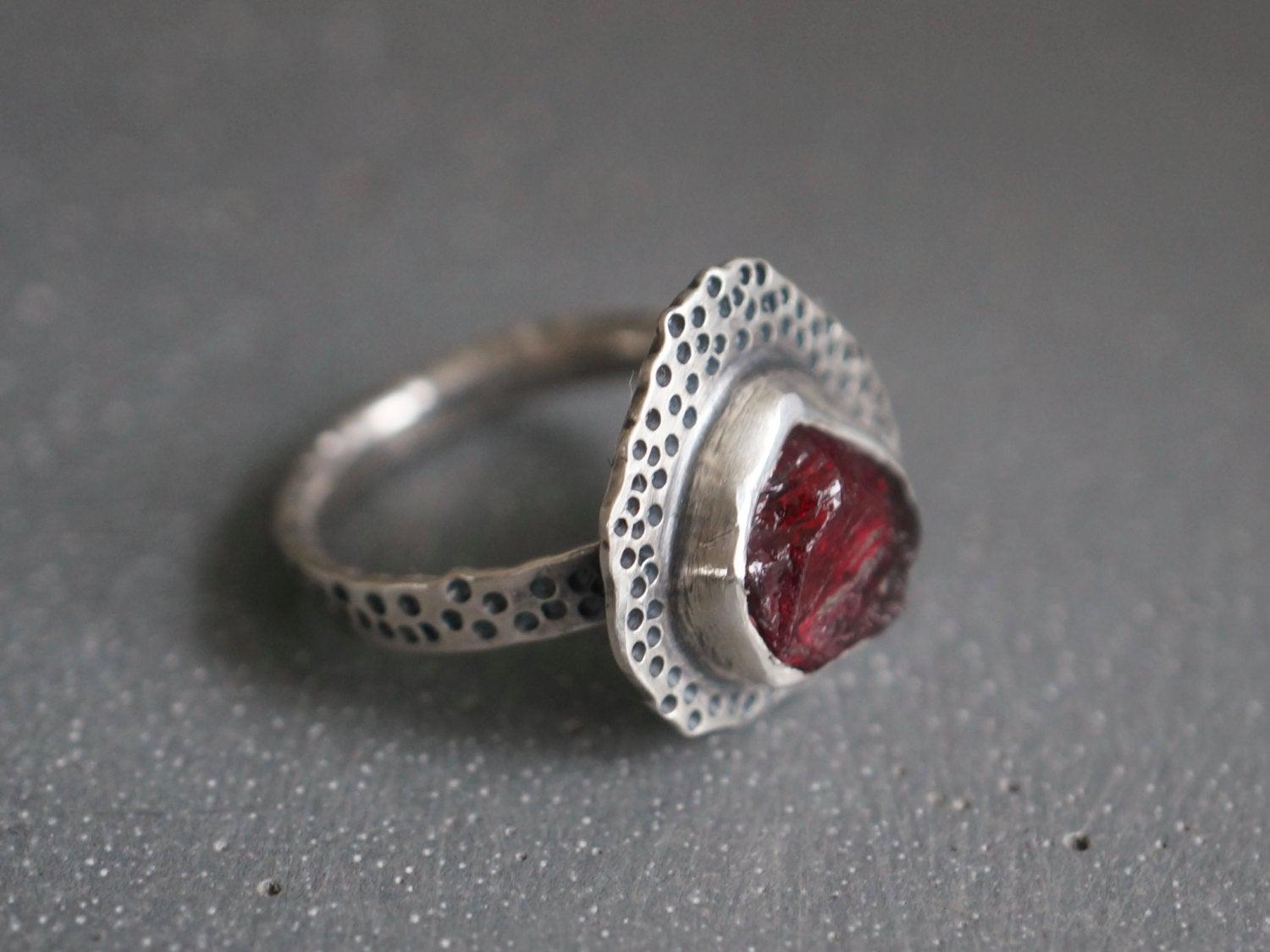 Raw garnet and sterling silver ring, size 7