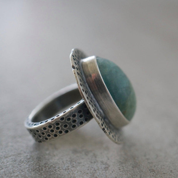 Large aquamarine and sterling silver statement ring, size 6.5