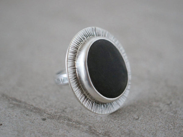 Dark grey beach pebble statement ring, US size 7.5