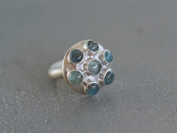 Moss Aquamarine and sterling silver ring, size 6.5