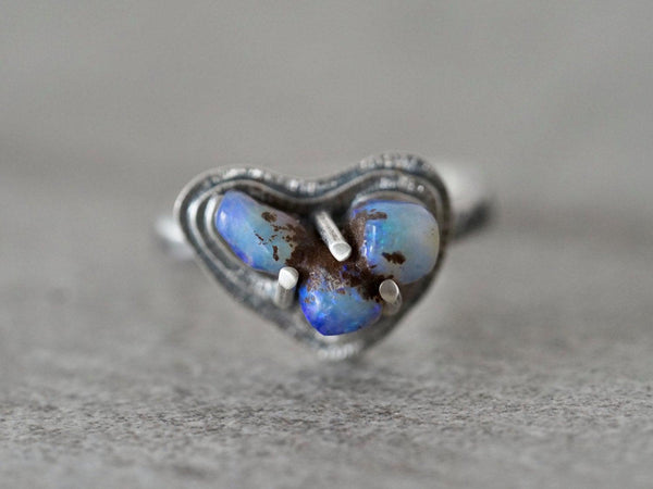Carved Australian  boulder opal and sterling silver ring, size 8.75