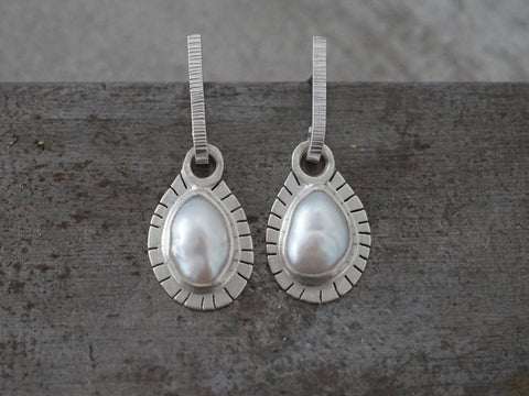 Freshwater pearl earrings, contemporary pearl earrings