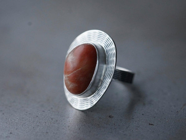 Red beach pebble ring, size 9.25