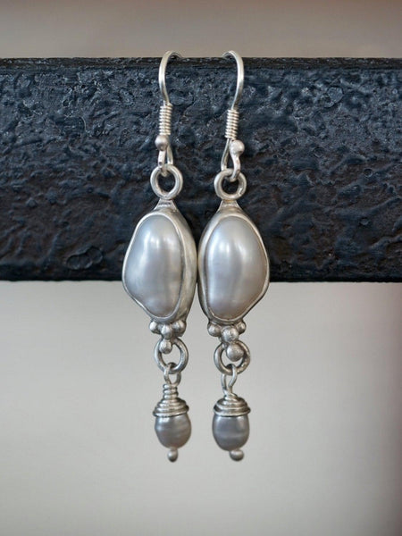 Freshwater pearl and sterling silver dangle earrings,