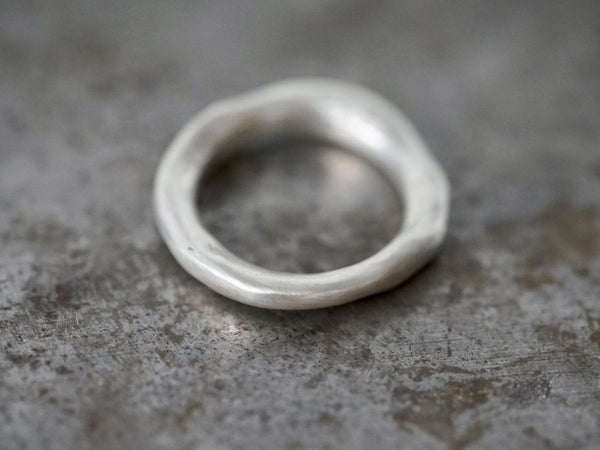 organic flowing sterling silver ring, size 9.75