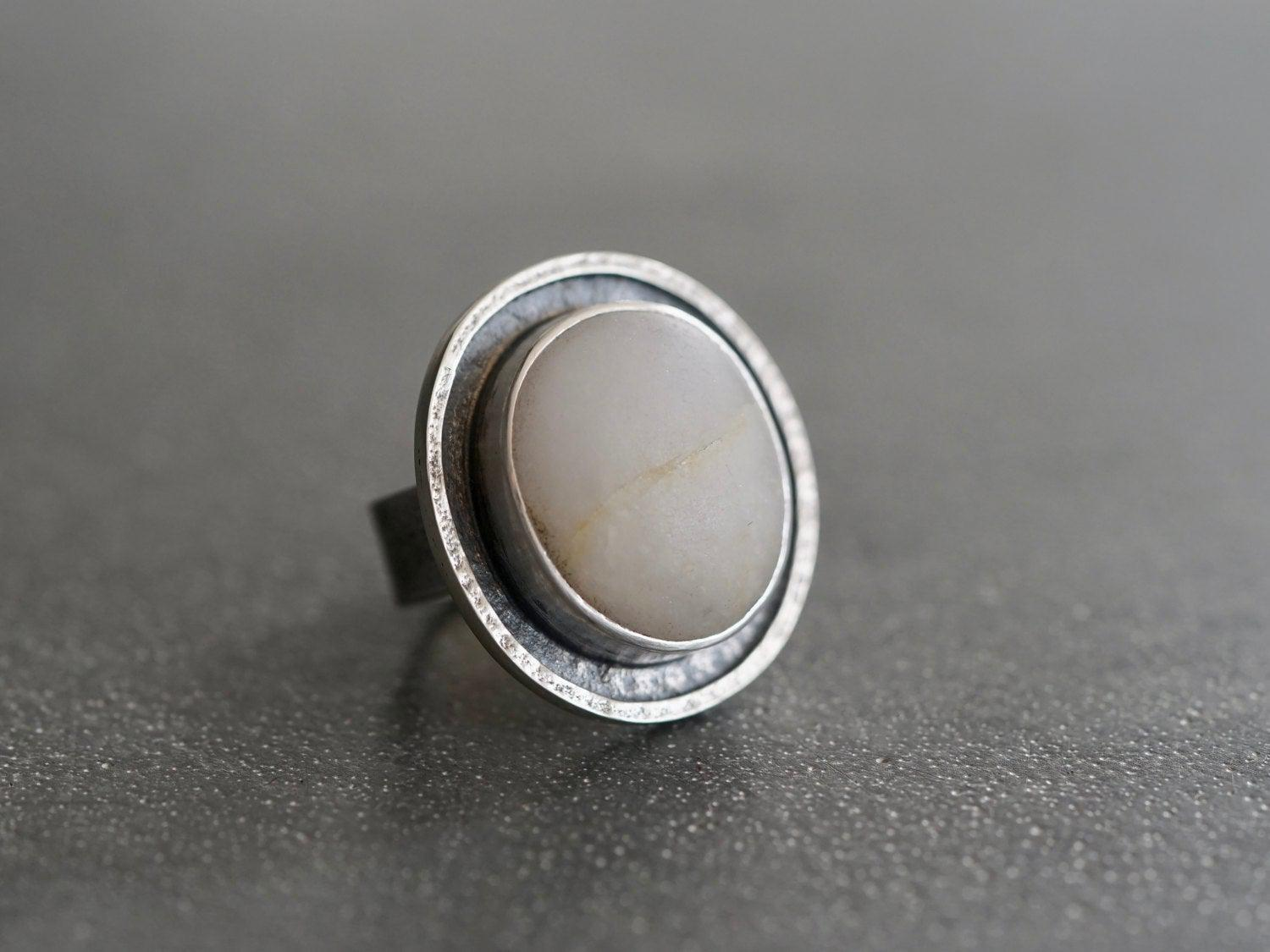 Large textured sterling silver and pebble statement ring ring, size 6.5