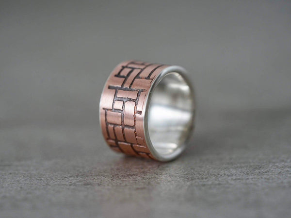 Etched copper and sterling silver ring, size 7