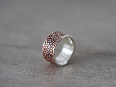 Etched copper and sterling silver ring, size 8