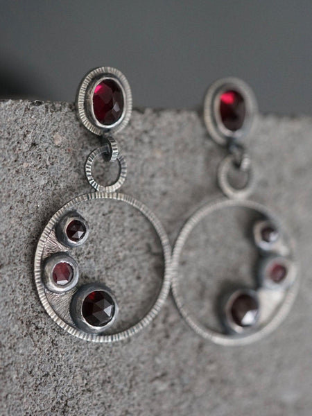 Dangly garnet cluster earrings sterling earrings
