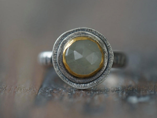 Green sapphire and 24K gold ring, size 4.75