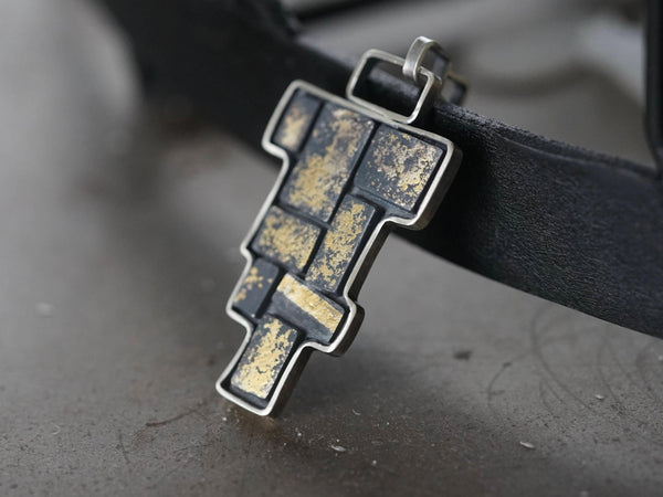 24K Gold on black totemic statement pendant