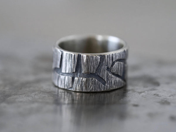 Sculptural sterling silver ring, size 9