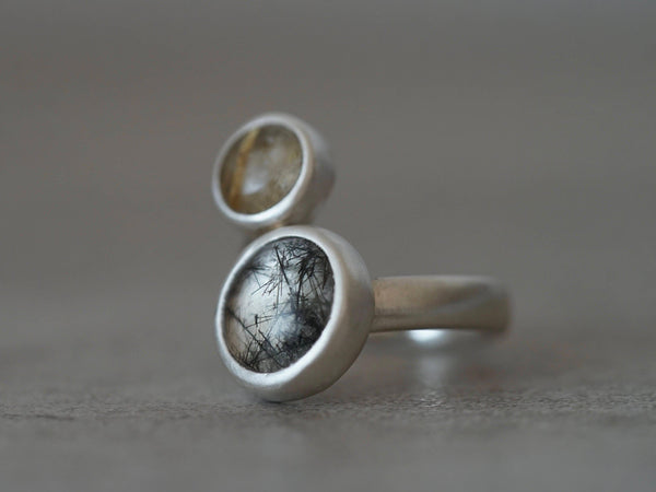 Sterling silver spiral ring, rutilated quartz, size 7.25