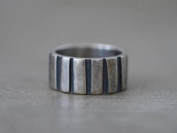 striped sterling silver ring, size 9