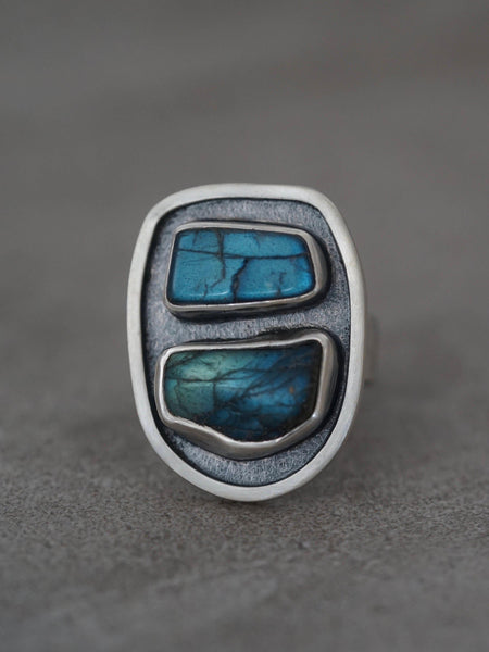 Blue labradorite and sterling silver statement ring, size 6.5