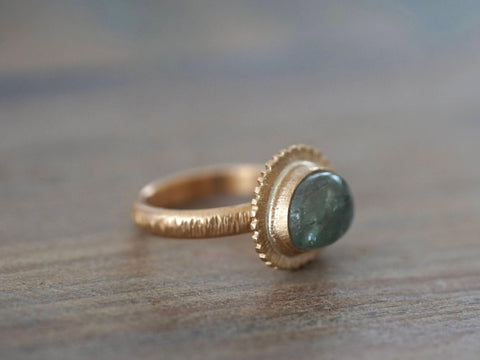 Bronze and aqua green tourmaline ring, size 6.5