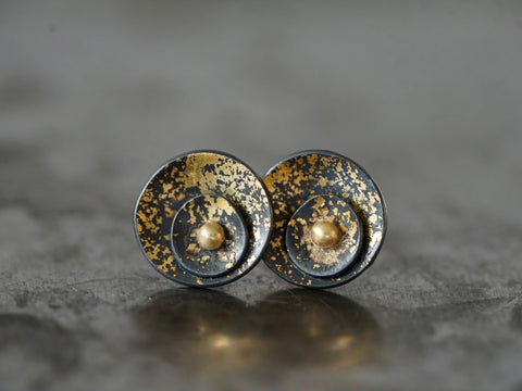 Midas interrupted gold on black shell post earrings
