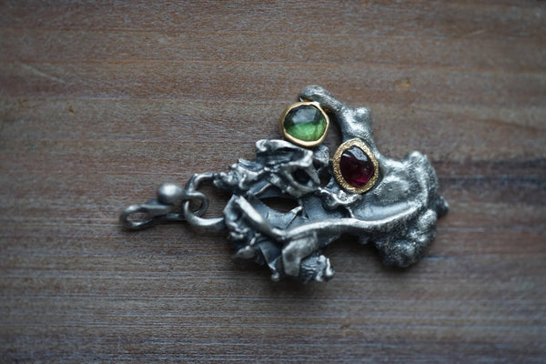 Organic tree pendant, sterling silver, 22k gold, tourmaline and garnet