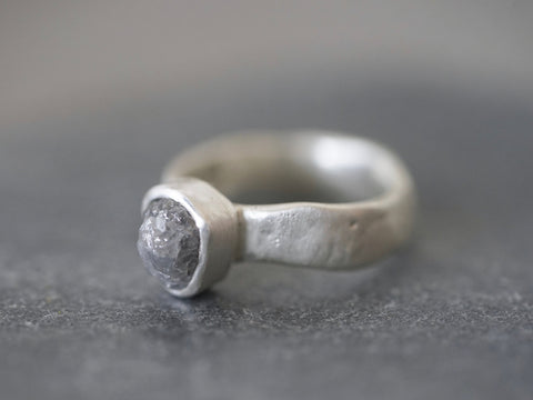 raw grey diamond and sterling silver ring, size 6